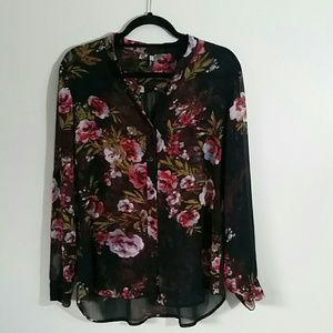 Womens sheer, button front blouse.